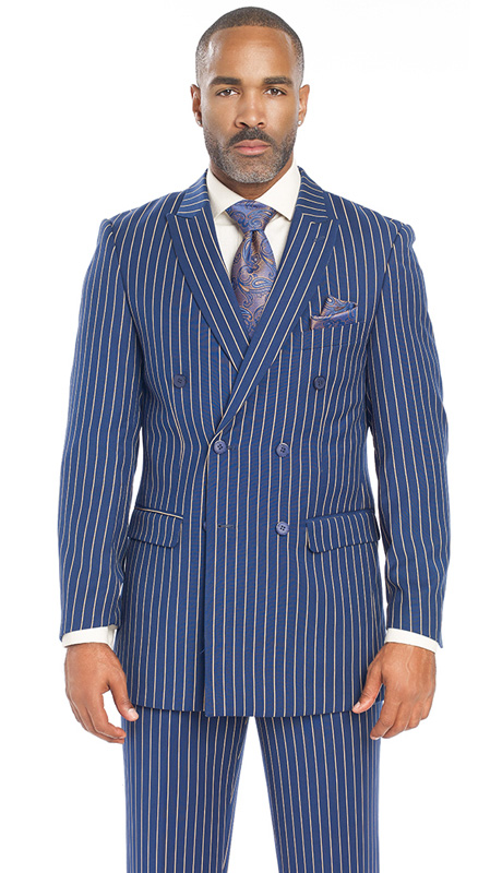 Mens Suits By EJ Samuel M2701-BLU ( 2 Piece Bold Stripe, Double Breasted, Side Vents, Matching Pleated Pant )