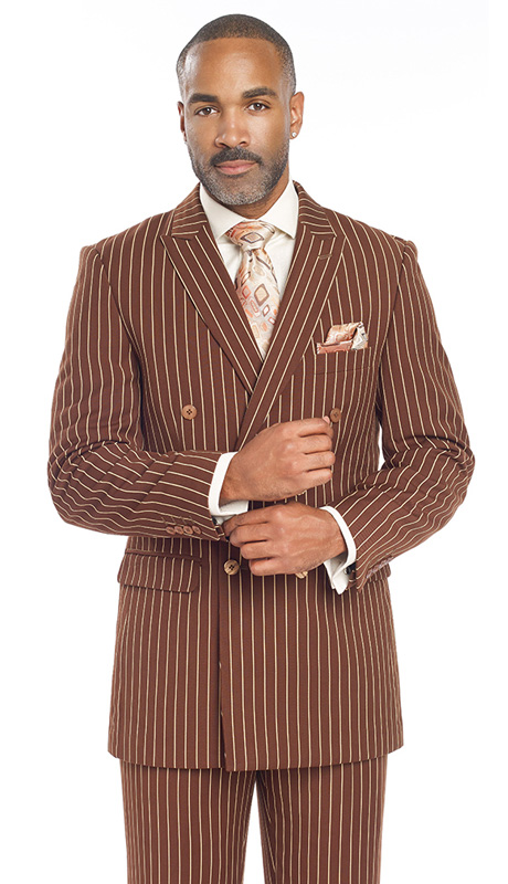Mens Suits By EJ Samuel M2701-BWN ( 2 Piece Bold Stripe, Double Breasted, Side Vents, Matching Pleated Pant )