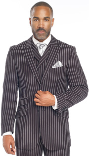 Mens Suits By EJ Samuel M2700-BLK ( 3 Piece Bold Stripe, 2 Button Single Breasted Jacket, 3 Flap Pocket, Side Vents, Double Breasted Vest, Matching Pleated Pants )