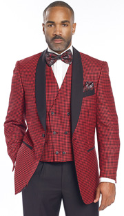 Mens Suits By EJ Samuel M2699-RE ( 3 Piece Houndstooth, Solid Shawl Lapel, 1 Button Jacket, Double Breasted Reversible Vest With Other Side Solid Black, Super 150s )
