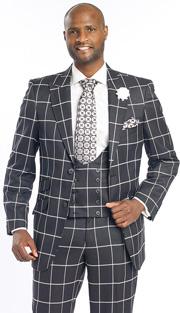 Mens Suits By EJ Samuel M2698-BLK ( 3 Piece Window Pane Plaid, 2 Button Jacket, Scoop Double Breasted Vest, Matching Pant, Super Fine Wool Blend )