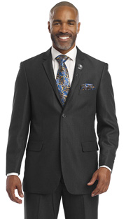 Mens Suits By EJ Samuel M2696-BLK ( 2 Piece Fine Pin Stripe, 2 Button, Single Pleated Pant, Wool Touch )