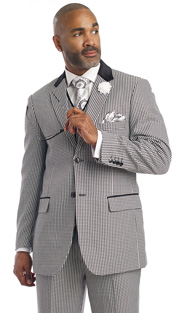 Mens Suits By EJ Samuel M2692-BLK ( 3 Piece Houndstooth, Single Breasted, 5 Button Jacket With Notch Lapel, 5 Button Vest, Velvet Trim On Collar And Pockets, Pleated Pant, Super 150s )