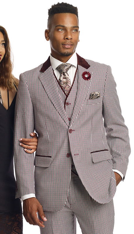 Mens Suits By EJ Samuel M2692-WI ( 3 Piece Houndstooth, Single Breasted, 5 Button Jacket With Notch Lapel, 5 Button Vest, Velvet Trim On Collar And Pockets, Pleated Pant, Super 150s )