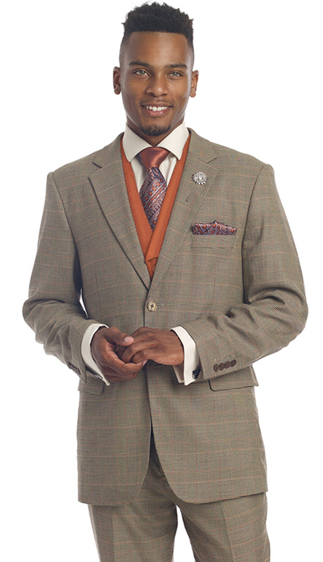 Mens Suits By EJ Samuel M2691-RU ( 3 Piece 1920s Vintage Style, Glen Plaid Pattern, 2 Button Jacket With Side Vents, Solid Color Vest With Wide Shawl Lapel, Matching Pant )