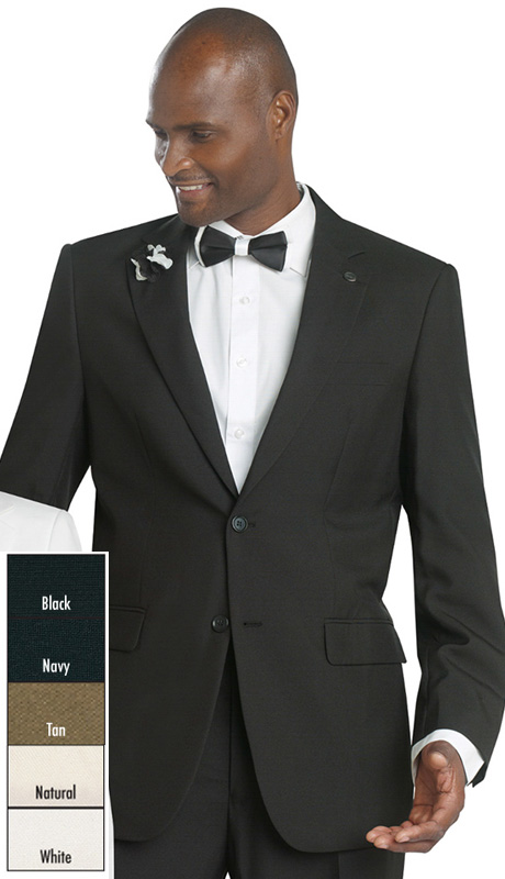 Mens Suits By EJ Samuel M1938-BLK ( 2 Piece, 2 Button, Flat Front Pant, Solid Suit, Also Available In Boys B4775 )