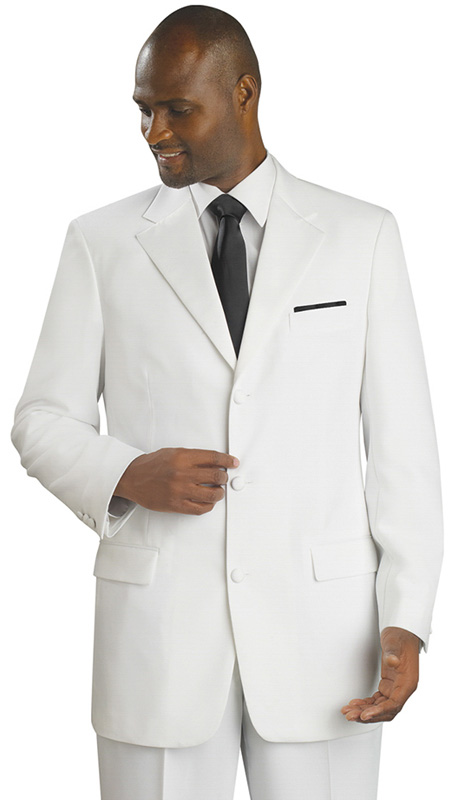 Mens Tuxedo By EJ Samuel TUX103-WH ( 2pc Single Breasted, 3 Button And 2 Flap Pockets, Contrast Trim On Breast Pocket, Tuxedo )