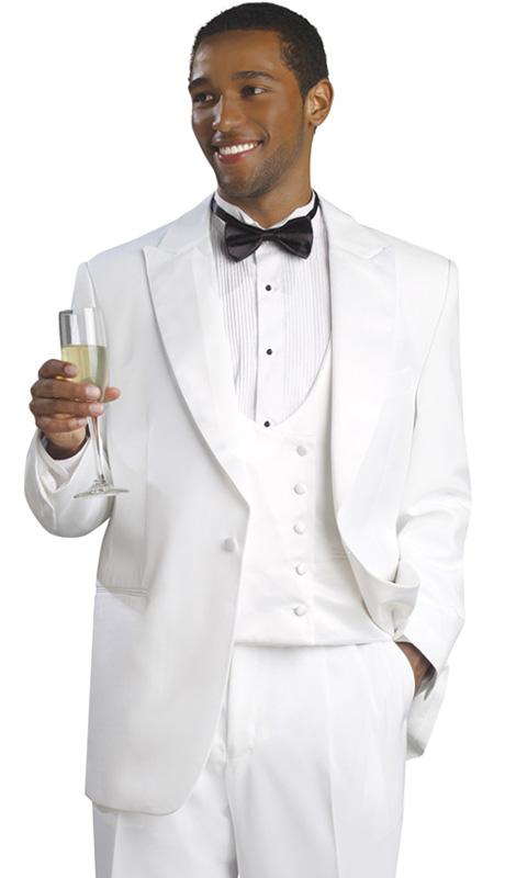 Mens Tuxedo By EJ Samuel TUX104-WH ( 3pc Tuxedo, 1 Button Jacket With Peak Lapels, Double Breatsed Reversible U-Neck Vest, Pleated Pant, Super 150s )