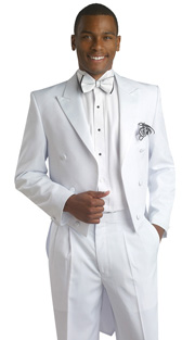 Mens Tuxedo By EJ Samuel TUX107 ( 2pc Classic Fit Tuxedo, Peak Lapel Tailcoat And Pleated Pant, Super 150s )
