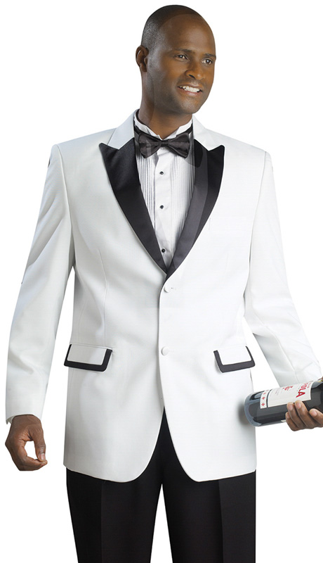 Mens Tuxedo By EJ Samuel TUX108 ( 2pc Single Breasted, 2 Button, Contrast Trim On Peak Lapels And 2 Flap Pockets, Black Pant Tuxedo )