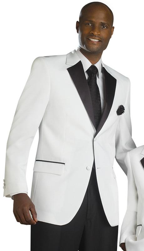 Mens Tuxedo By EJ Samuel TUX112 ( 2pc, Single Breatsed, 2 Button, 2 Flap Pocket With Black Trim, Contrast Color Notch Lapel Tuxedo )