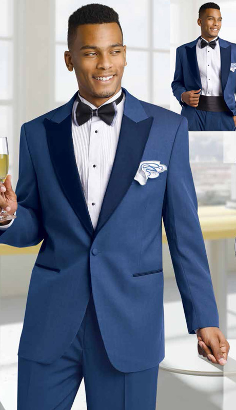 Mens Tuxedo By EJ Samuel TUX116 ( 3pc, Single Breasted, 1 Button, Tonal Detail On Pockets And Peak Lapels On Jacket, Pant And Cumberbund )