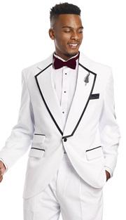 Mens Tuxedo By EJ Samuel TUX117 ( 2pc, 1 Button,  3 Flap Pocket And Notch Lapel With Black Trim, Pleated Pant Tuxedo