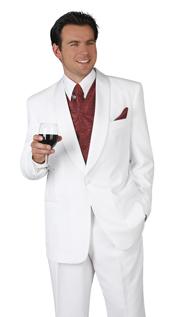 Mens Tuxedo By EJ Samuel TUX201-WH  ( 2pc, Single Breatsed, 1 Button With Shawl Lapel Tuxedo )