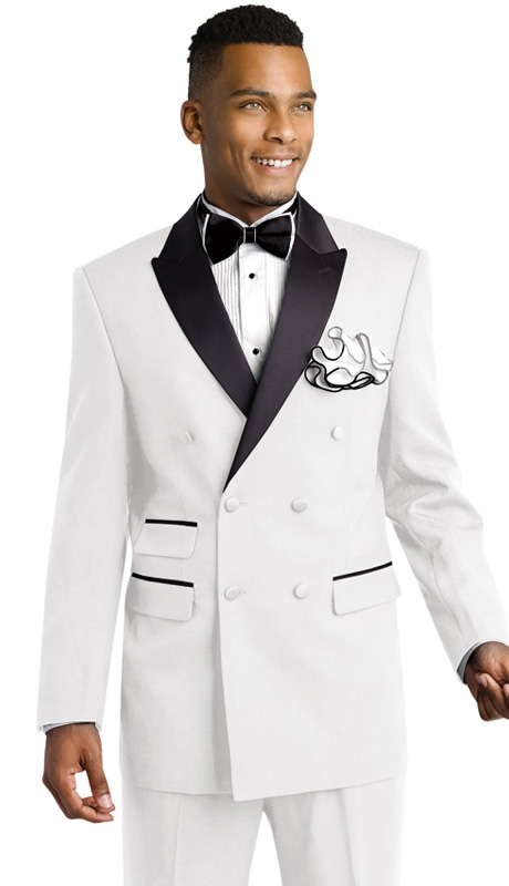 Mens Tuxedo By EJ Samuel TUX203 ( 2pc, Double Breasted, Peak Lapels, 3 Flap Pocket With Black Trim Tuxedo )