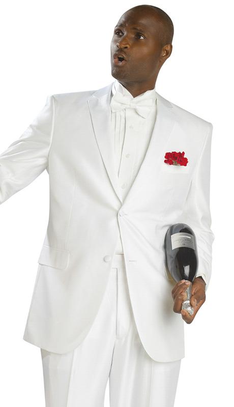 Mens Tuxedo By EJ Samuel TUX402 ( 2pc, Notch Lapels, 2 Button, Solid White Tuxedo )
