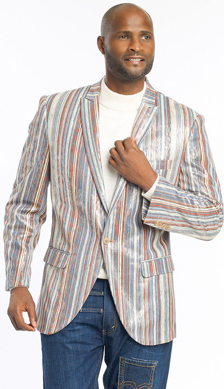 Mens Blazer By EJ Samuel J13-BLU ( 1 Piece Velvet Stripe Blazer, 1 Button, Super 150s )