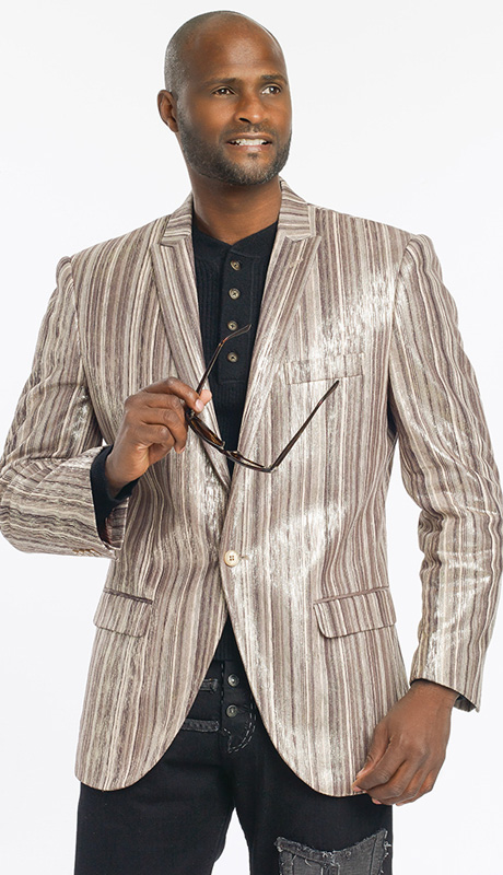 Mens Blazer By EJ Samuel J13-BRN ( 1 Piece Velvet Stripe Blazer, 1 Button, Super 150s )