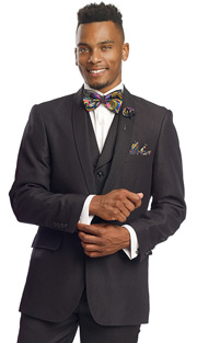 Mens Suits By EJ Samuel M2697-BLK ( 3 Piece, 1 Button Formal Jacket With Shawl Lapel, 2 Flap Pockets, 4 Button Vest With Shawl Lapel, Side Vents And Single Pleated Pant )