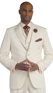 Mens Suits By EJ Samuel M2688-CRE ( 3 Piece Stitch Detailed, Single Breatsed, Side Vents, Pleated Pant, Rich Wool Feel )