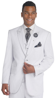 Mens Suits By EJ Samuel M2688-WB ( 3 Piece Stitch Detailed, Single Breatsed, Side Vents, Pleated Pant, Rich Wool Feel )
