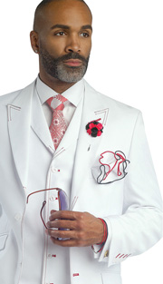 Mens Suits By EJ Samuel M2688-RE ( 3 Piece Stitch Detailed, Single Breatsed, Side Vents, Pleated Pant, Rich Wool Feel )