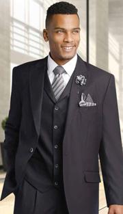 Mens Suits By EJ Samuel M2683-BLK ( 3 Piece, 1 Button Jacket, 5 Button Vest, 3 Flap Pockets, Pleated Pant, Super 150s )