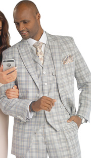 Mens Suits By EJ Samuel M2679 ( 3 Piece Plaid, Single Breasted, 2 Button Jacket With Pockets, 5 Button Vest, Matching Pant, Super 150s )