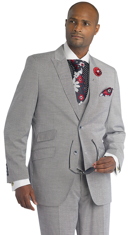 Mens Suits By EJ Samuel M2671-BLK ( 3 Piece, 2 Button Single Breasted Jacket, 3 Flap Pockets, Side Vents, 8 Button Double Breasted Vest, Pleated Pant )