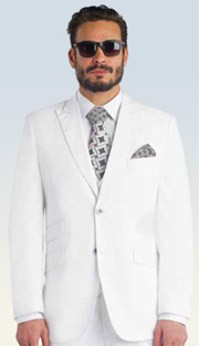 Mens Suits By EJ Samuel M2671-WH ( 3 Piece, 2 Button Single Breasted Jacket, 3 Flap Pockets, Side Vents, 8 Button Double Breasted Vest, Pleated Pant )