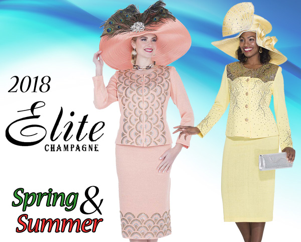 Elite Champagne Ladies Church Suits Spring And Summer 2018