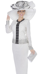 Elite Champagne 5053 ( 2pc Exclusive Metallic Knit Ladies Church Suit Jacket And Skirt With Rhinestone Details )