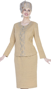 Elite Champagne 5161 ( 2pc Exclusive Knit Womens Zipper Front Jacket And Skirt With Rhinestone Embellishment )