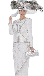 Elite Champagne 4967 ( 2pc Exclusive Knit Womens Church Suit Zipper Front Jacket With Skirt And Metallic Thread Embellishment )