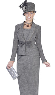 Elite Champagne 4969 ( 2pc Exclusive Knit Ladies Church Suit With Jacket, Skirt And Bow Detail )