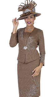 Elite Champagne 5158 ( 2pc Exclusive Knit Ladies Church Suit With Jacket And Skirt With Floral Swirl Pattern In Rhinetsones )