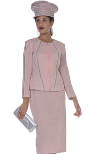 Elite Champagne 4955 ( 2pc Exclusive Knit Womens Church Suit With Zipper Front Jacket And Silvre Rhinestone Detail With Skirt )
