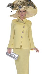 Elite Champagne 5062 ( 2pc Exclusive Knit Womens Church Suit With Asymetric Button Front jacket With Skirt )