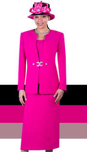 Giovanna 0650-FUS ( 3pc PeachSkin Women Sunday Suit With Rhinestones Details )