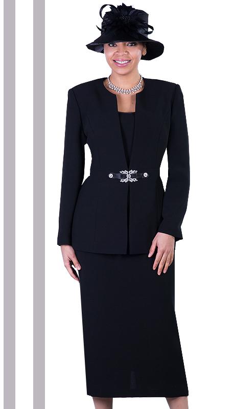 Giovanna 0650-BLK ( 3pc PeachSkin Women Sunday Suit With Rhinestones Details )