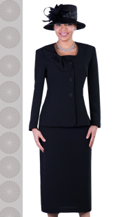 GV0654-BLK ( 3pc PeachSkin Womens Suit With Bow Collar, Jacket, Cami And Skirt )