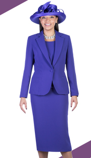 Giovanna 0823-PUR ( 3pc Peachskin Womens Sunday Suit )