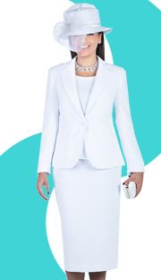 Giovanna 0823-WHT  ( 3pc Peachskin ( 3pc Peachskin Womens Sunday Suit )