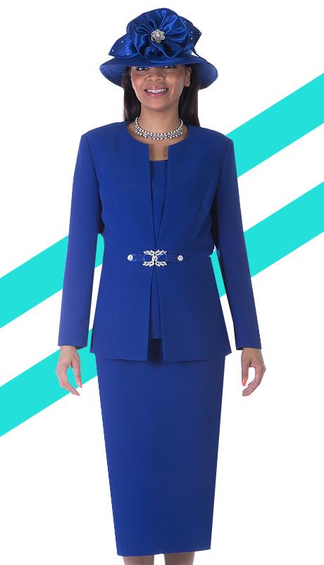Giovanna 0650-RO ( 3pc PeachSkin Women Sunday Suit With Rhinestones Details )