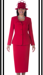 GV0654-RE ( 3pc PeachSkin Womens Suit With Bow Collar, Jacket, Cami And Skirt ) )