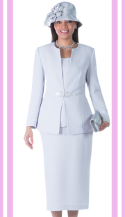 Giovanna 0650-WH ( 3pc PeachSkin  Women Sunday Suit With Rhinestones Details )