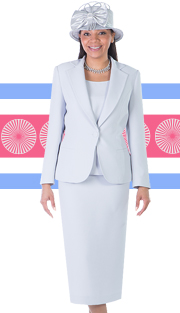 Giovanna 0823-SIL ( 3pc Peachskin Womens Sunday Suit )