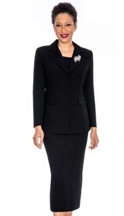 Giovanna 0655-BLK ( 3pc PeachSkin Women Church Suit With Rhinestones Brooch)
