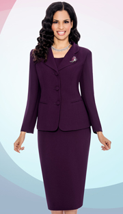 Giovanna 0824-PL ( 3pc Peachskin Womens Suit With 3 Button Jacket, Cami And Skirt )