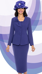 Giovanna 0654-PUR ( 3pc PeachSkin Womens Suit With Bow Collar, Jacket, Cami And Skirt )